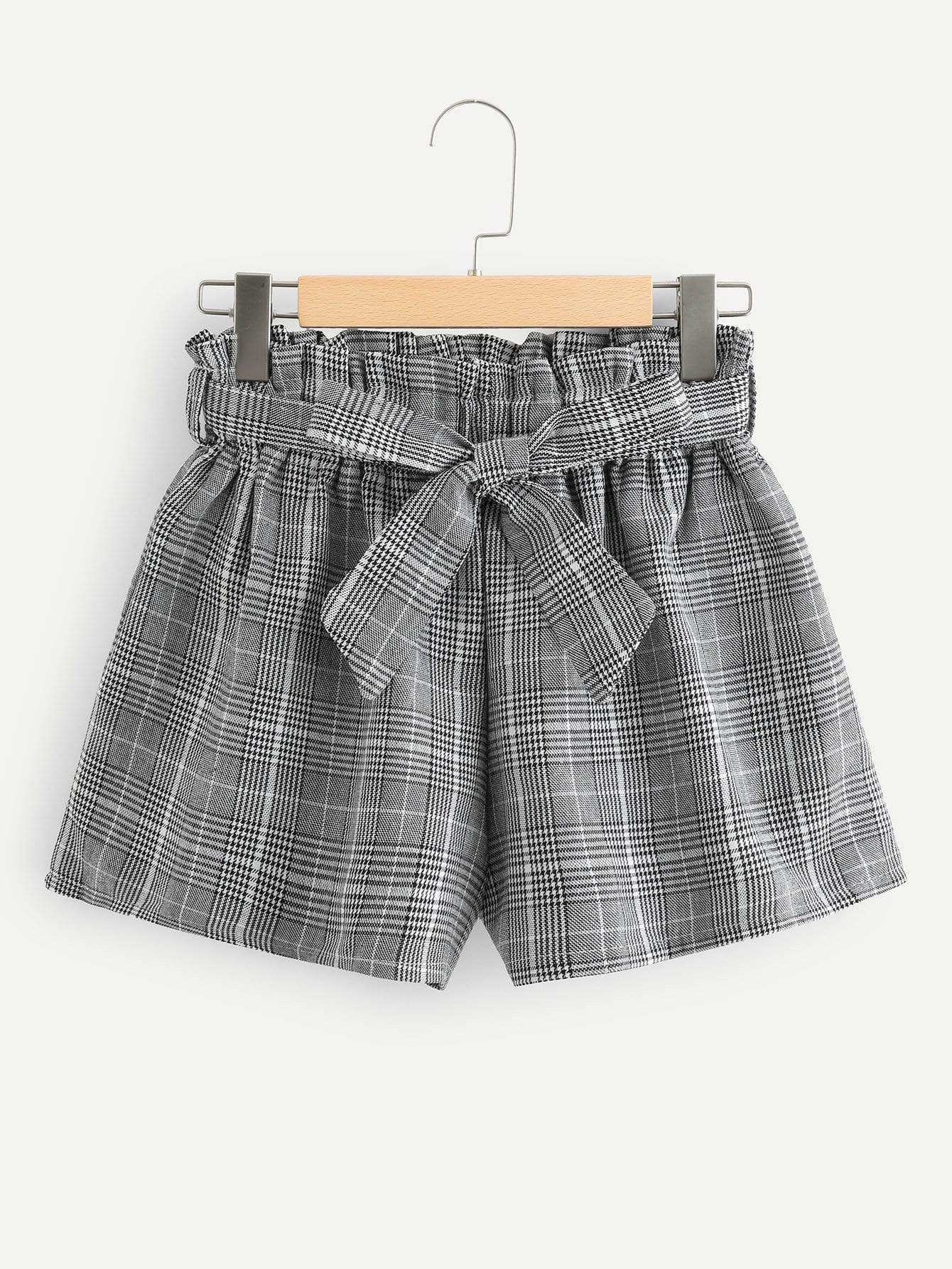 Frill Trim Self Tie Waist Checked Shorts цена 2017