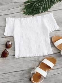 Off Shoulder Frill Trim Pleated Top