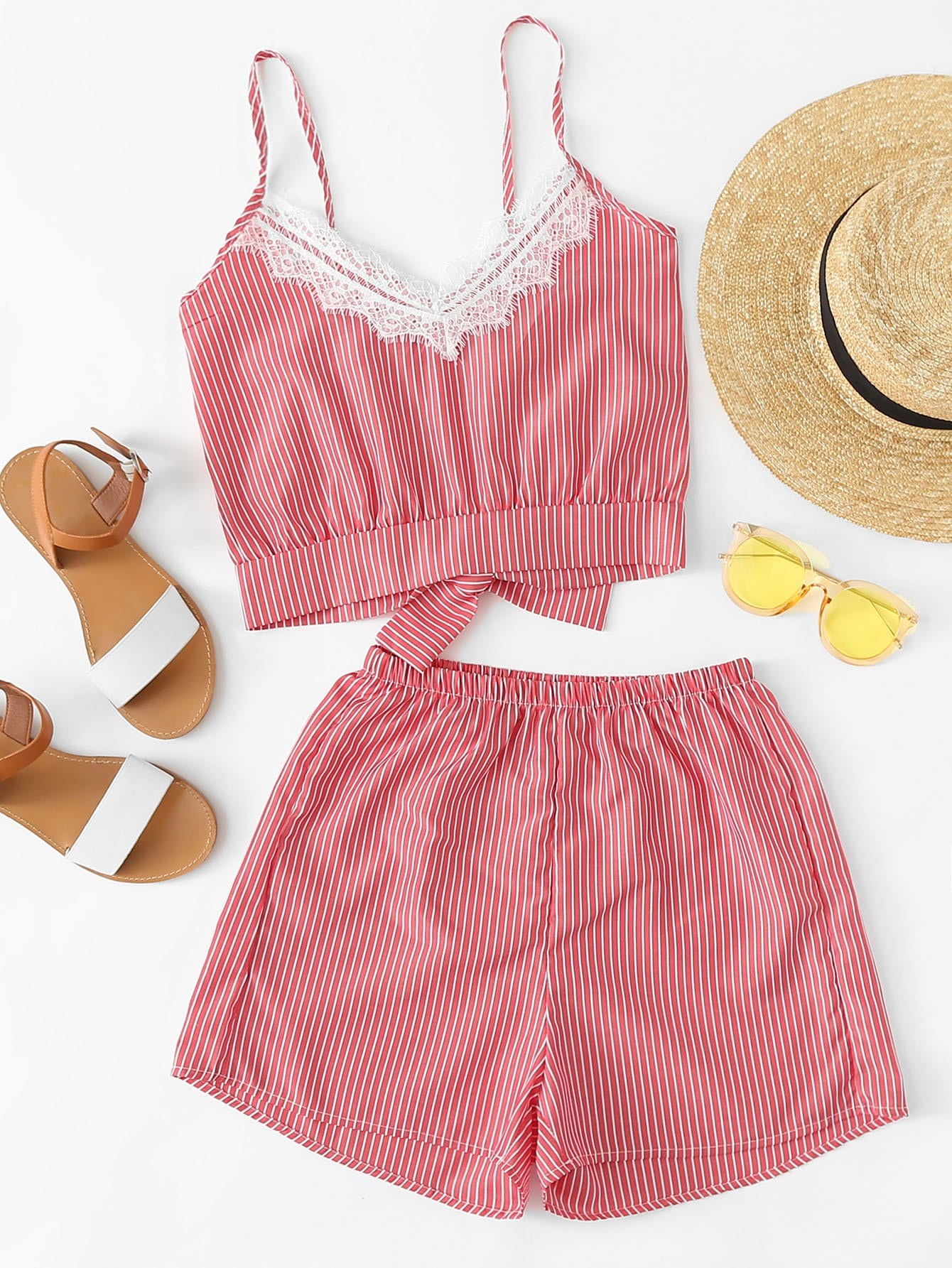 Vertical Striped Knot Back Cami Top With Shorts