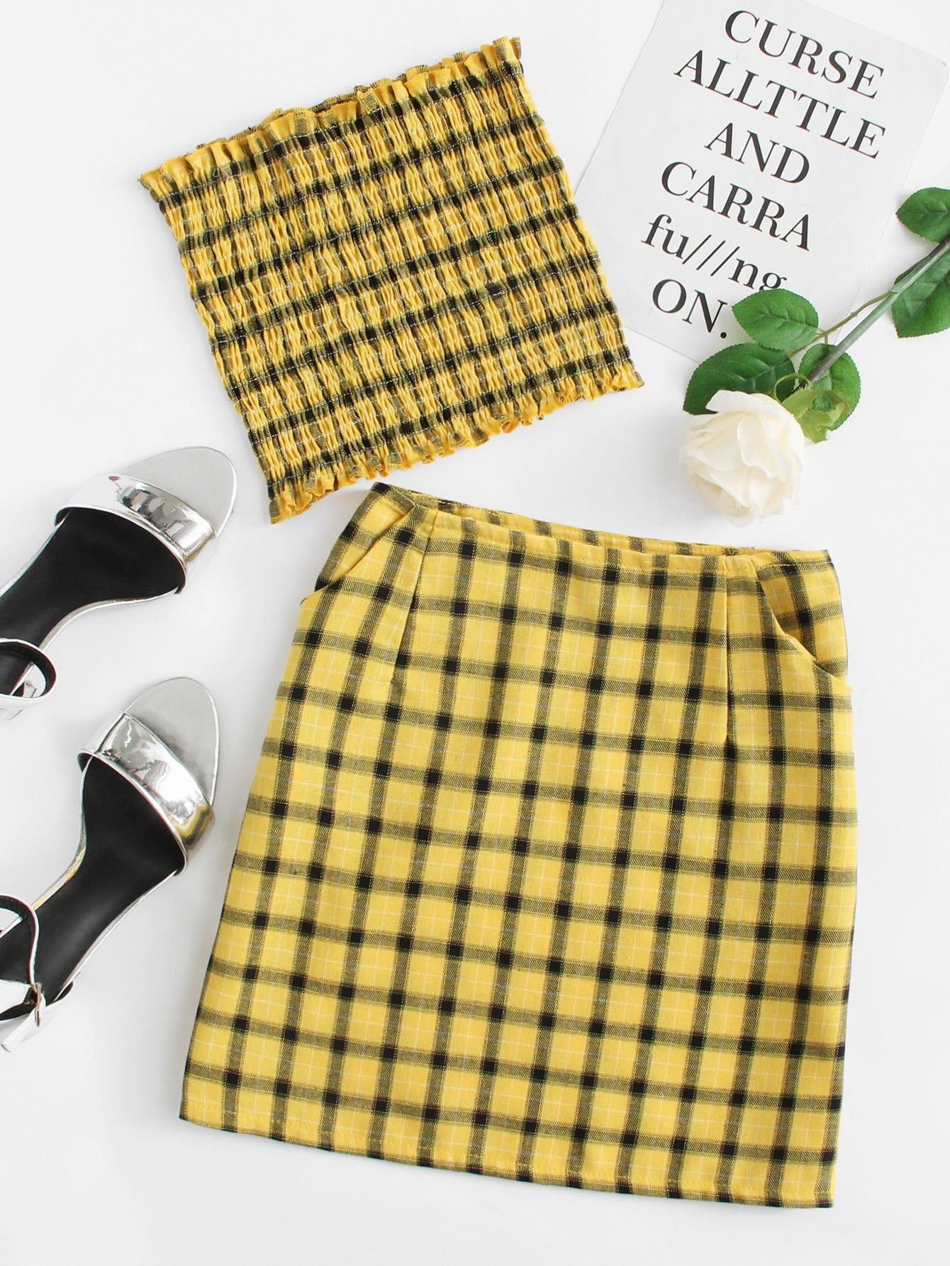 Купить Повседневный стиль Клетчатые изображения Складки Желтый Комплект, null, SheIn