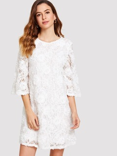 3D Applique Bell Sleeve Lace Dress