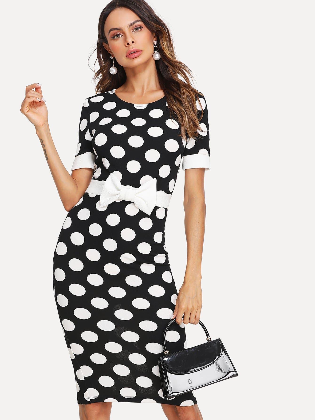 Contrast Bow Embellished Polka Dot Pencil Dress pearl embellished contrast dot mesh hem dress