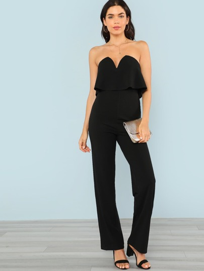 Flounce Trim Sweetheart Strapless Jumpsuit