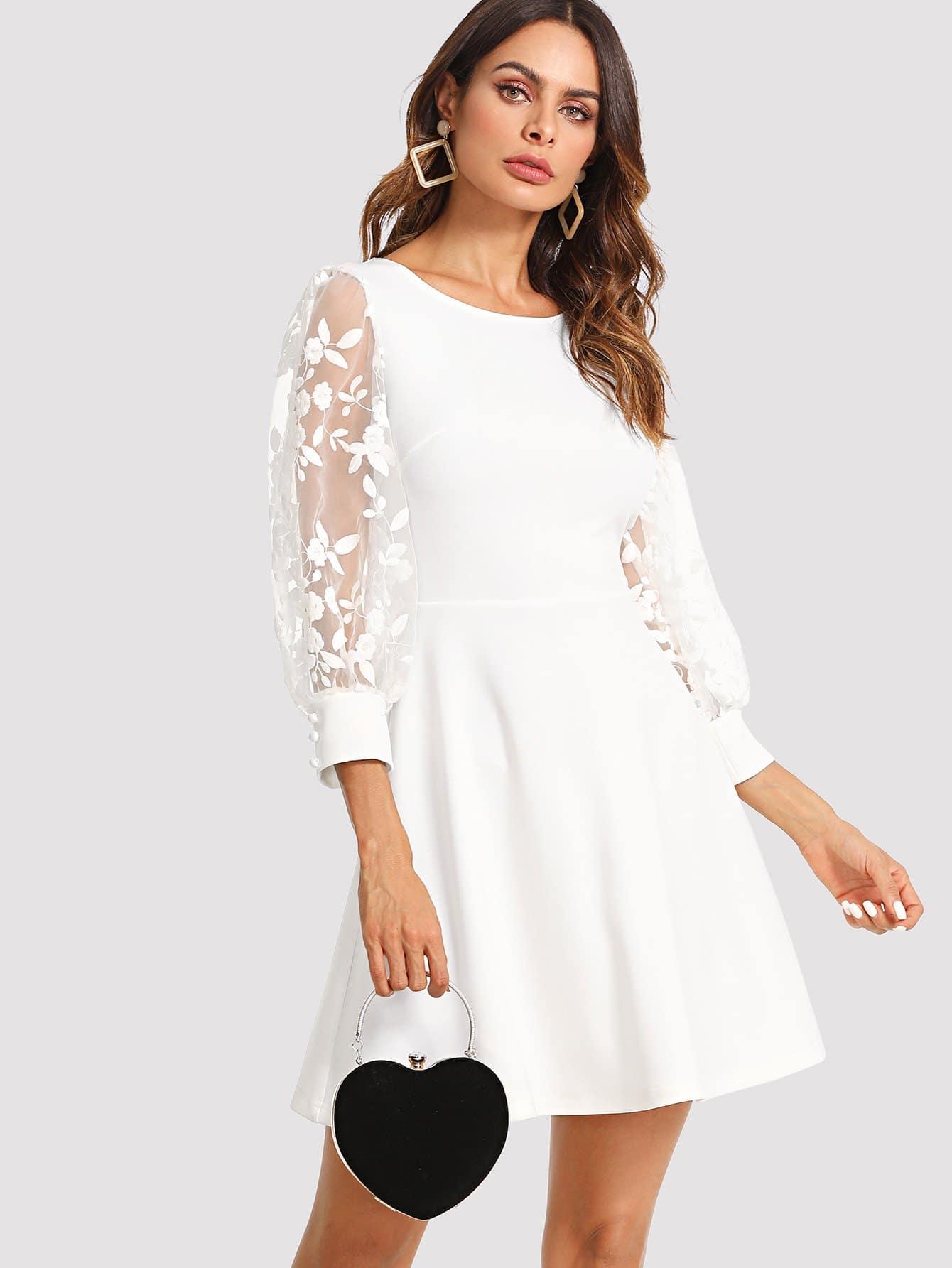 Embroidered Mesh Bishop Sleeve Fit & Flare Dress bishop sleeve tied neck striped flare dress