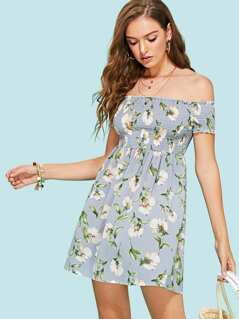 Off The Shoulder Floral Smocked Dress