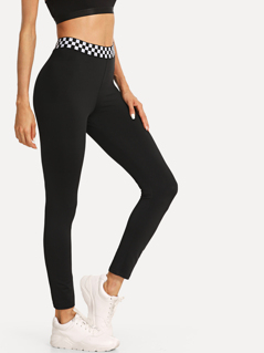 Checkered Waistband Leggings
