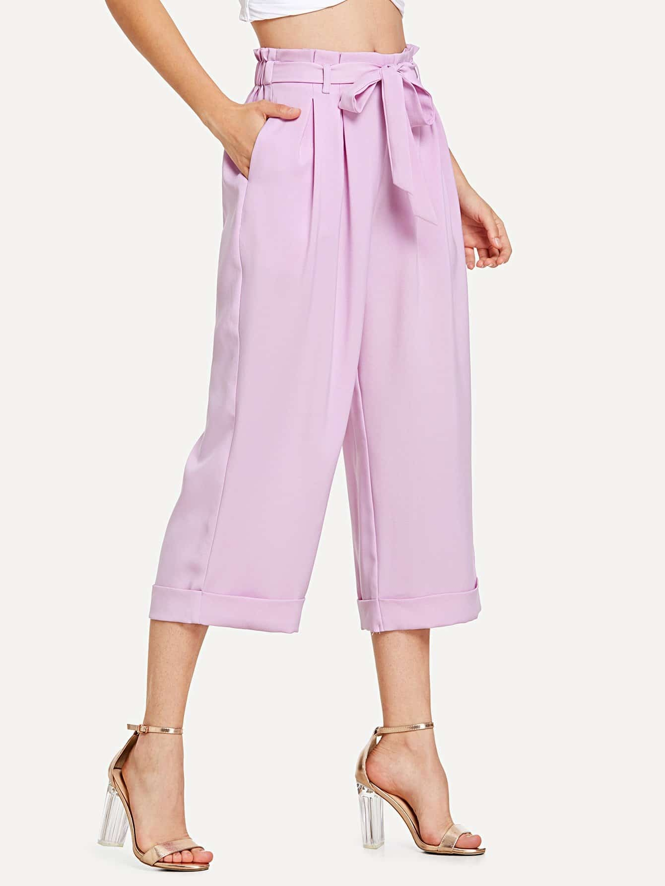 Tie Waist Fold Pleat Detail Culotte Pants box pleat detail palazzo pants