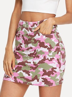 Camouflage Bodycon Skirt