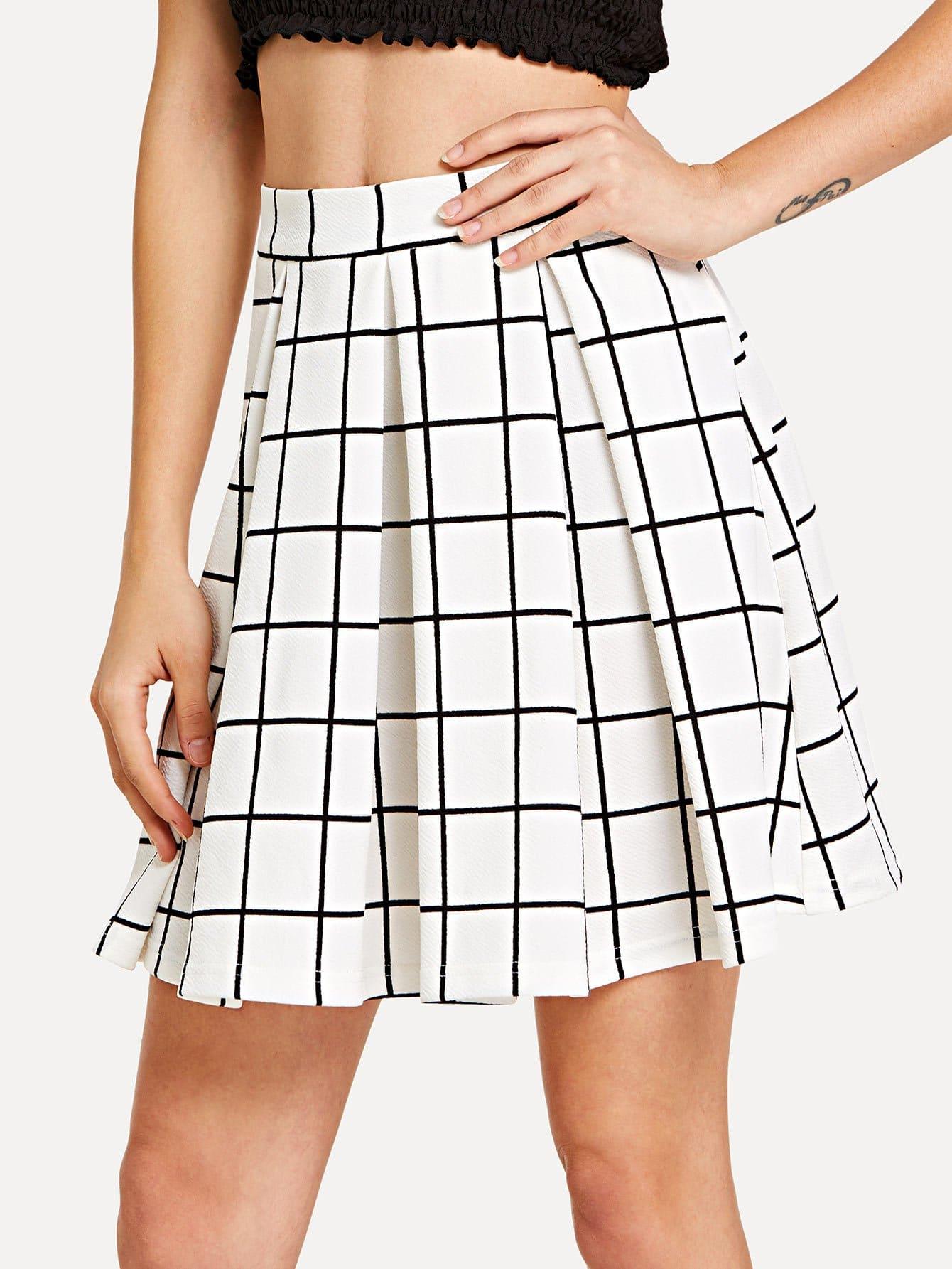 Box Pleated Grid Skirt box pleated grid skirt