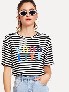 Letter Print Striped Boxy T-shirt