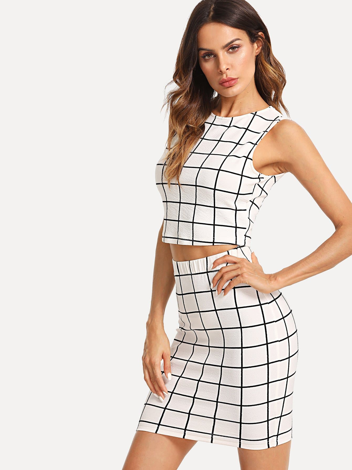 Grid Crop Top And Skirt Co-Ord black choker sleeveless crop top