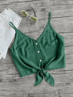Knot Front Button Up Cami Top