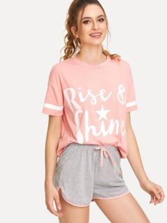 Letter Print Striped Tee & Contrast Binding Shorts PJ Set