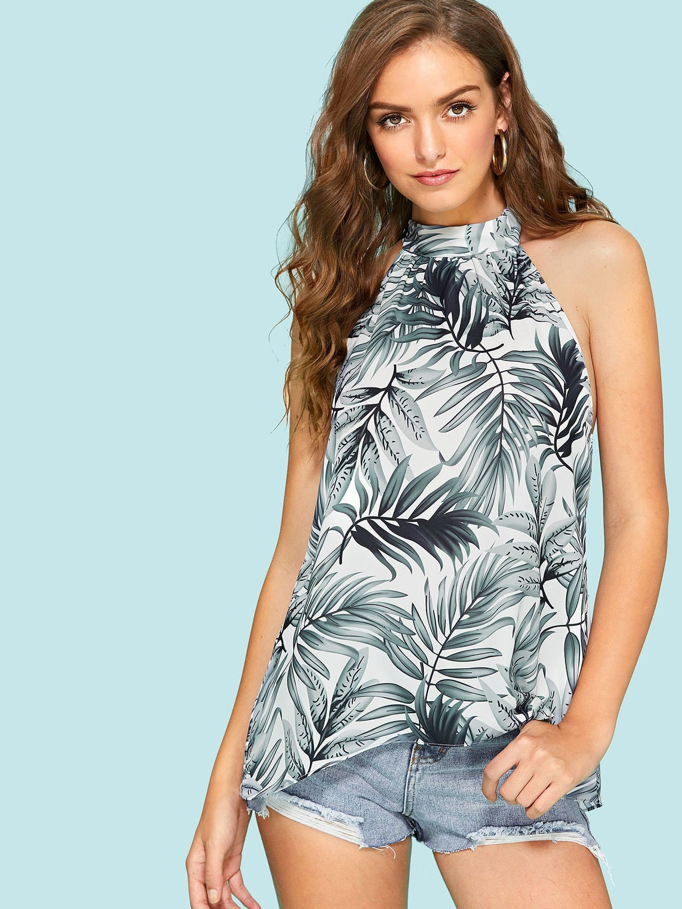 Tropical Print Open Back Halter Top бассейн easy set 305х76см intex 28120
