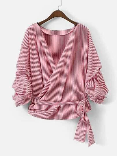Contrast Stripe Billow Sleeve Wrap Blouse