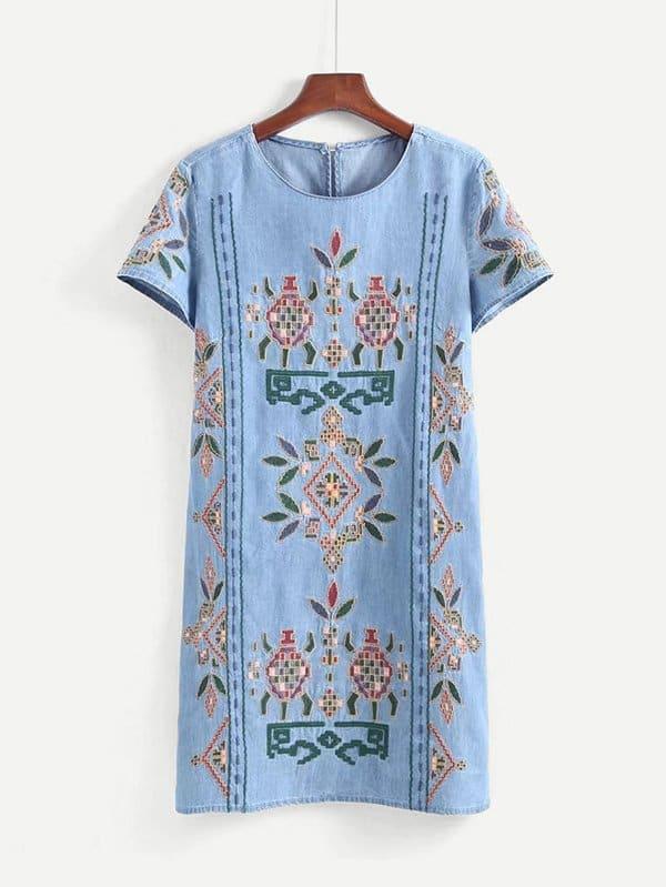Embroidered Denim Dress embroidered sleeve denim tunic dress
