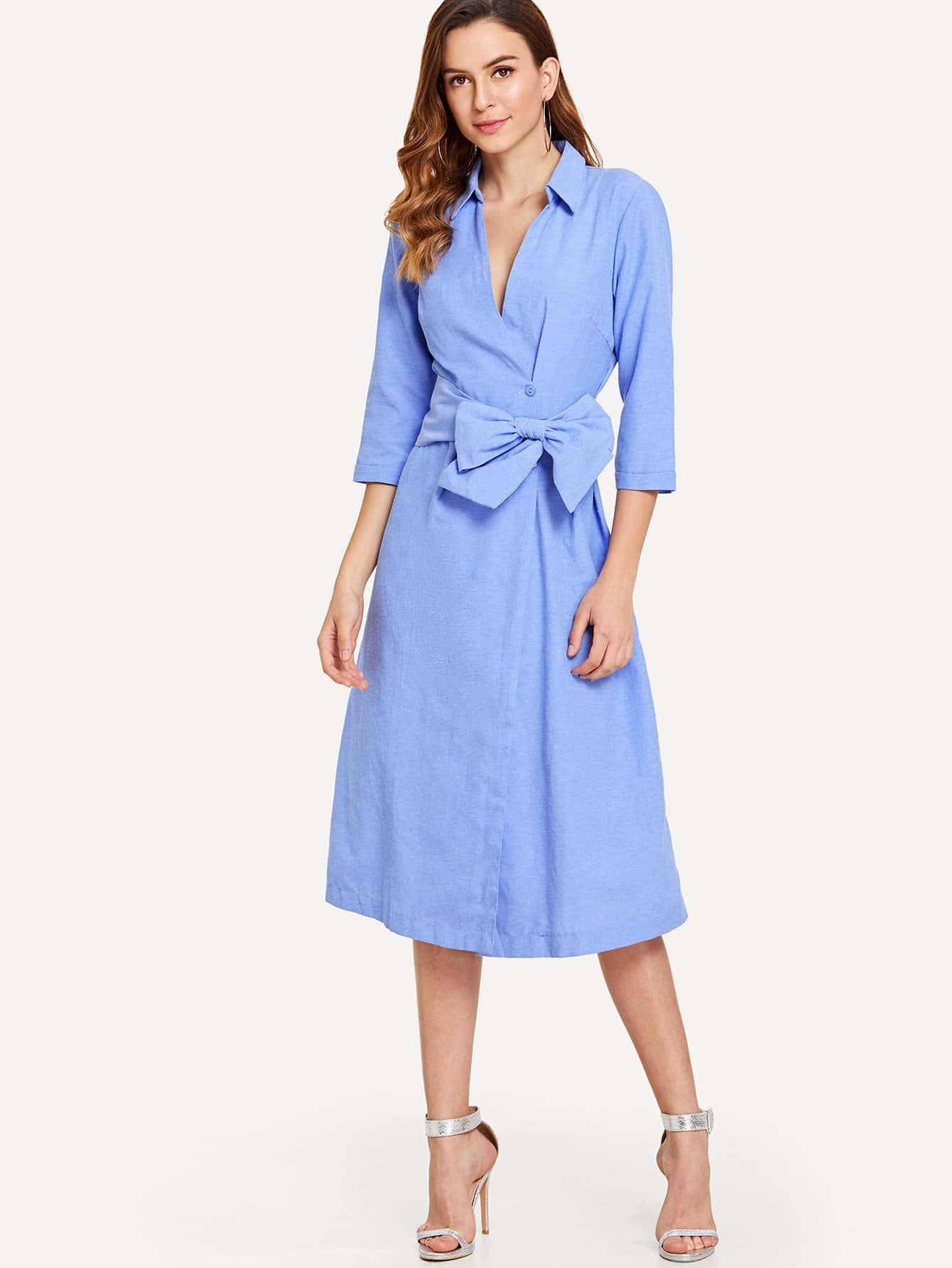 Self Tie Wrap Shirt Dress plus size self tie asymmetric bridesmaid wrap dress
