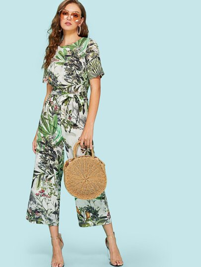 Jungle Print Split Back Belted Jumpsuit