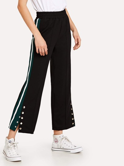 Contrast Panel Snap-Button Side Pants