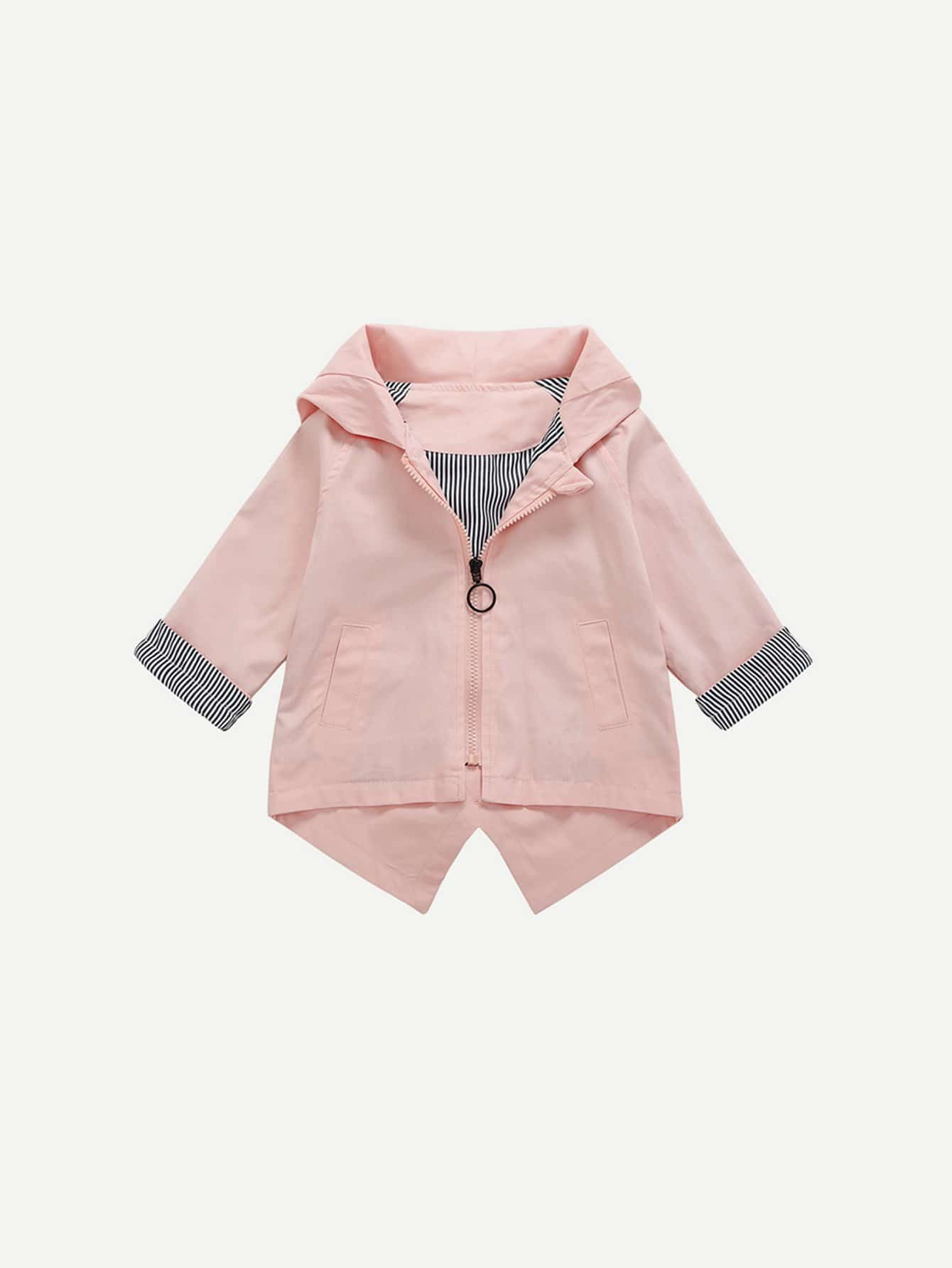 Kids High Low Rabbit Hooded Coat kids high low rabbit hooded coat