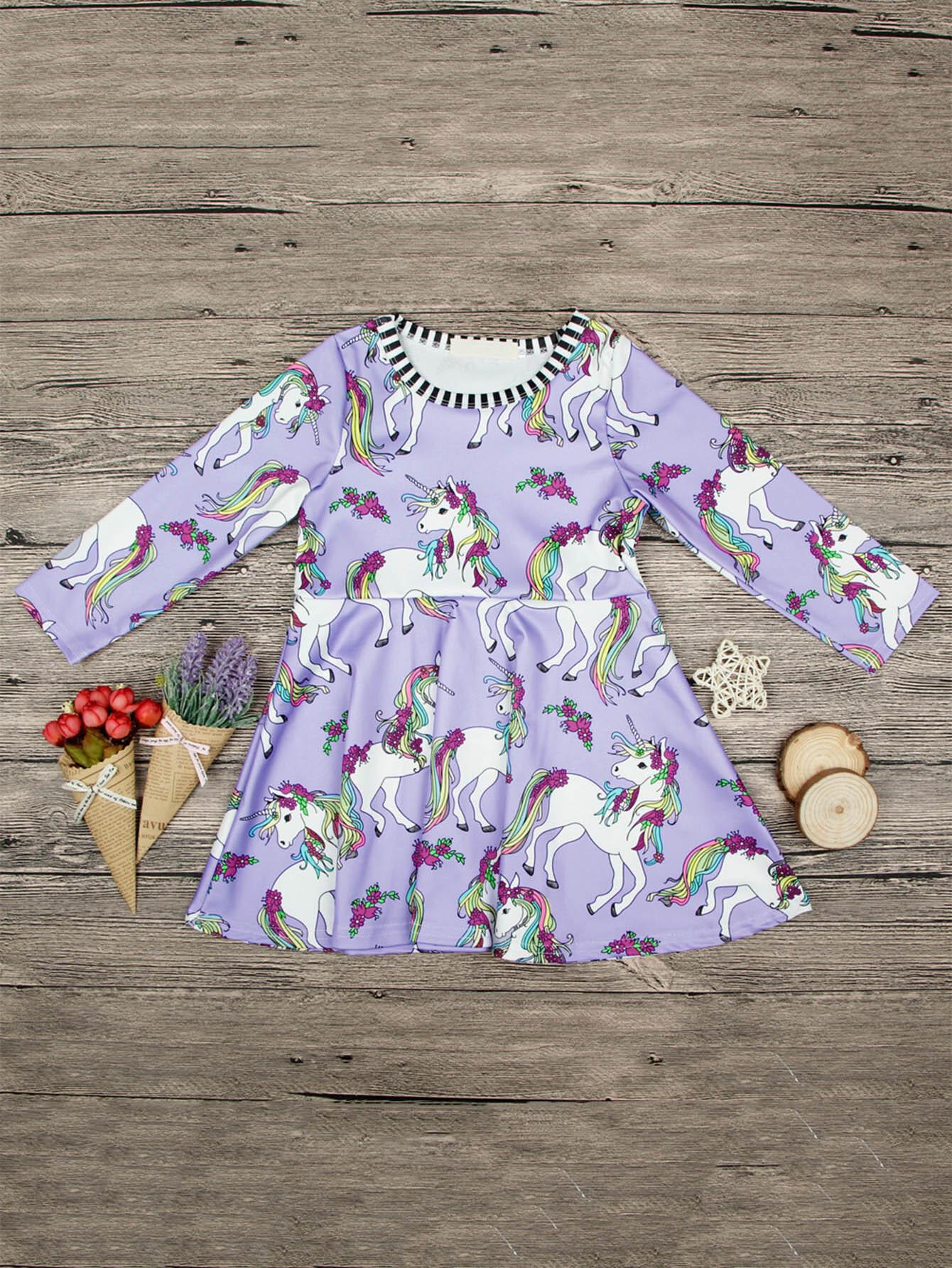 Girls Unicorn Print Dress