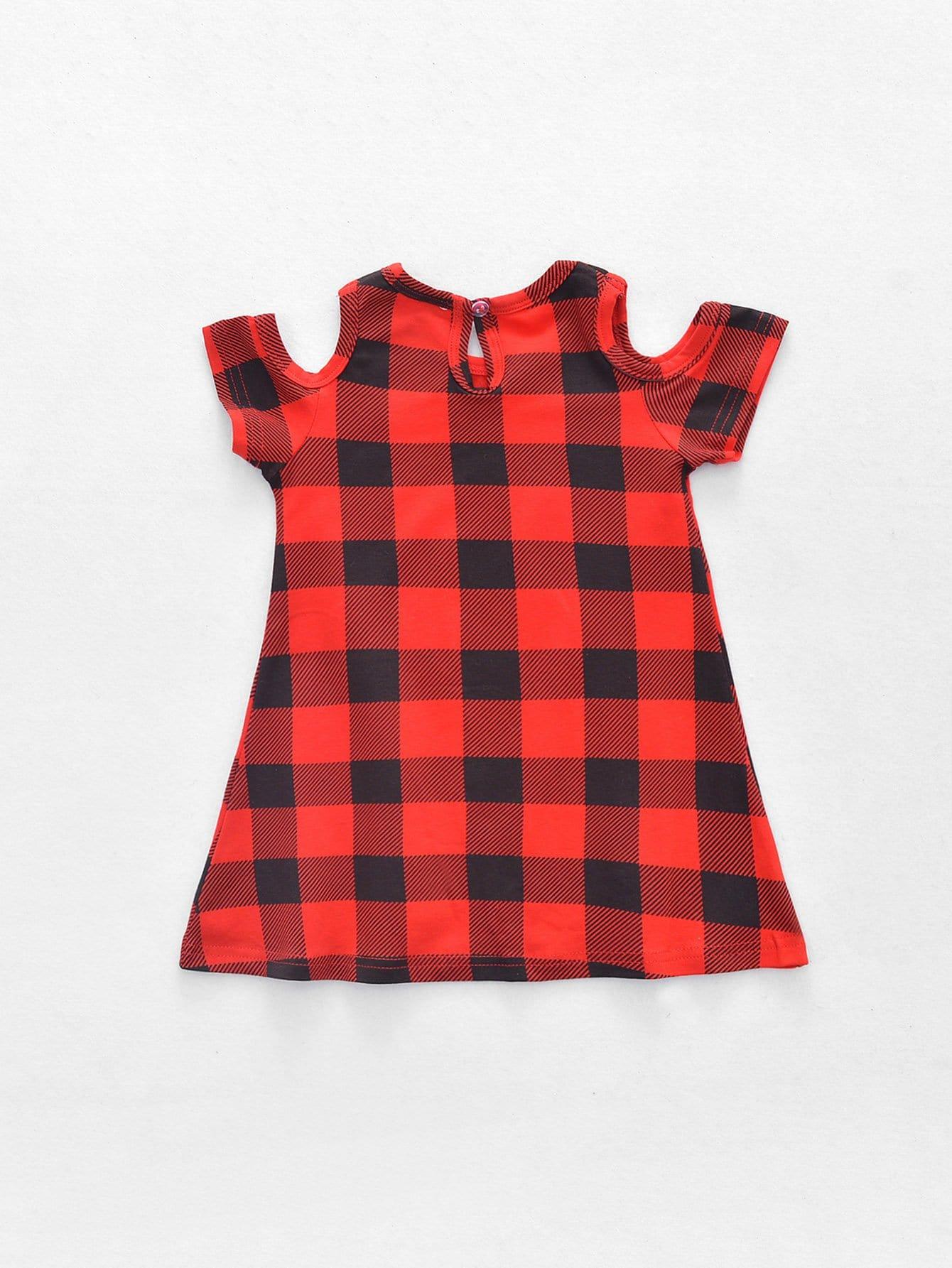 Kids Check Plaid Open Shoulder Dress