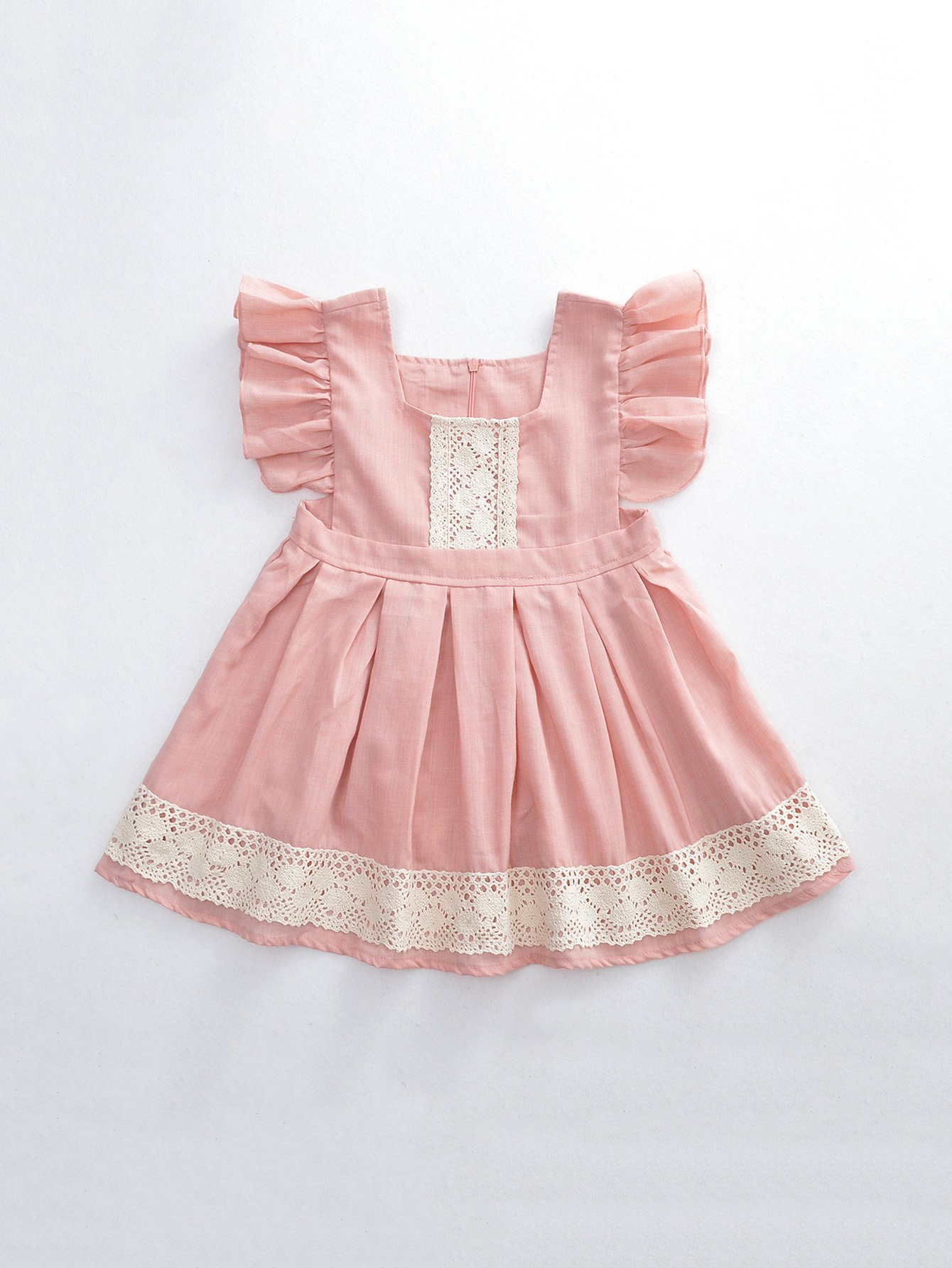 Girls Contrast Lace Ruffle Dress
