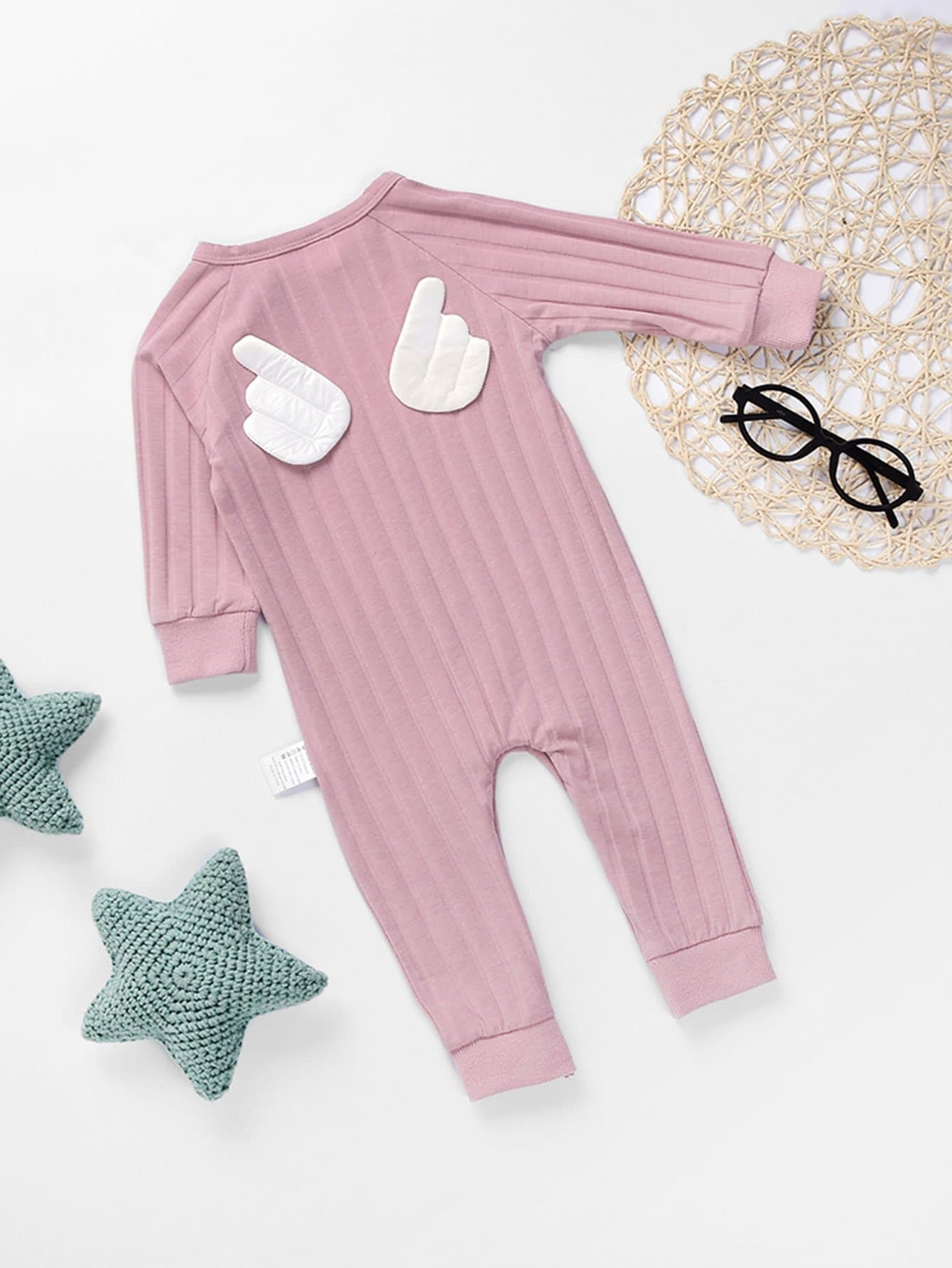 Boys Angel Wings Detail Jumpsuit newborn baby rompers clothes cotton ears hooded suits infant jumpsuit outwear animal lion baby boys girls jumpsuit clothing