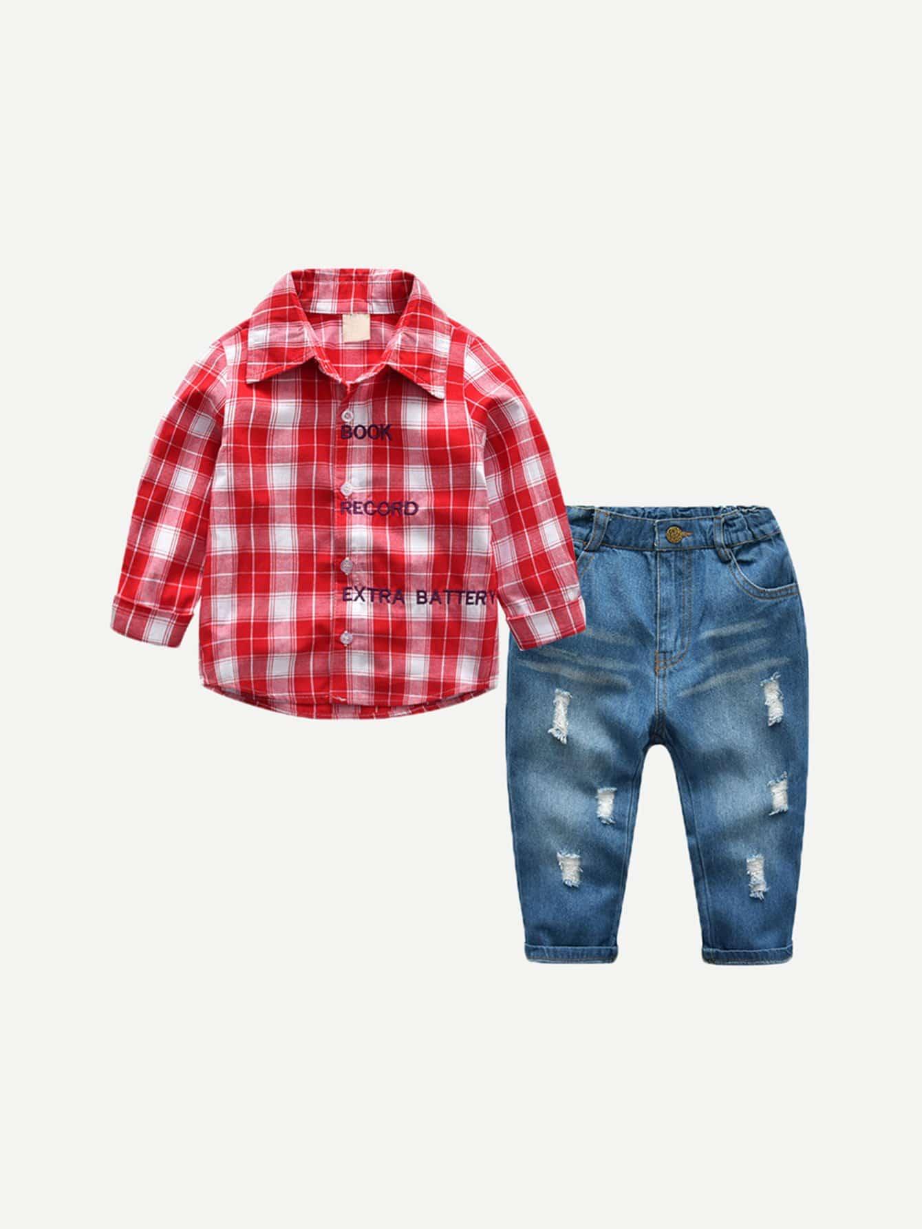 Детская открытка с вышивкой из тартана с джинсами от SheIn