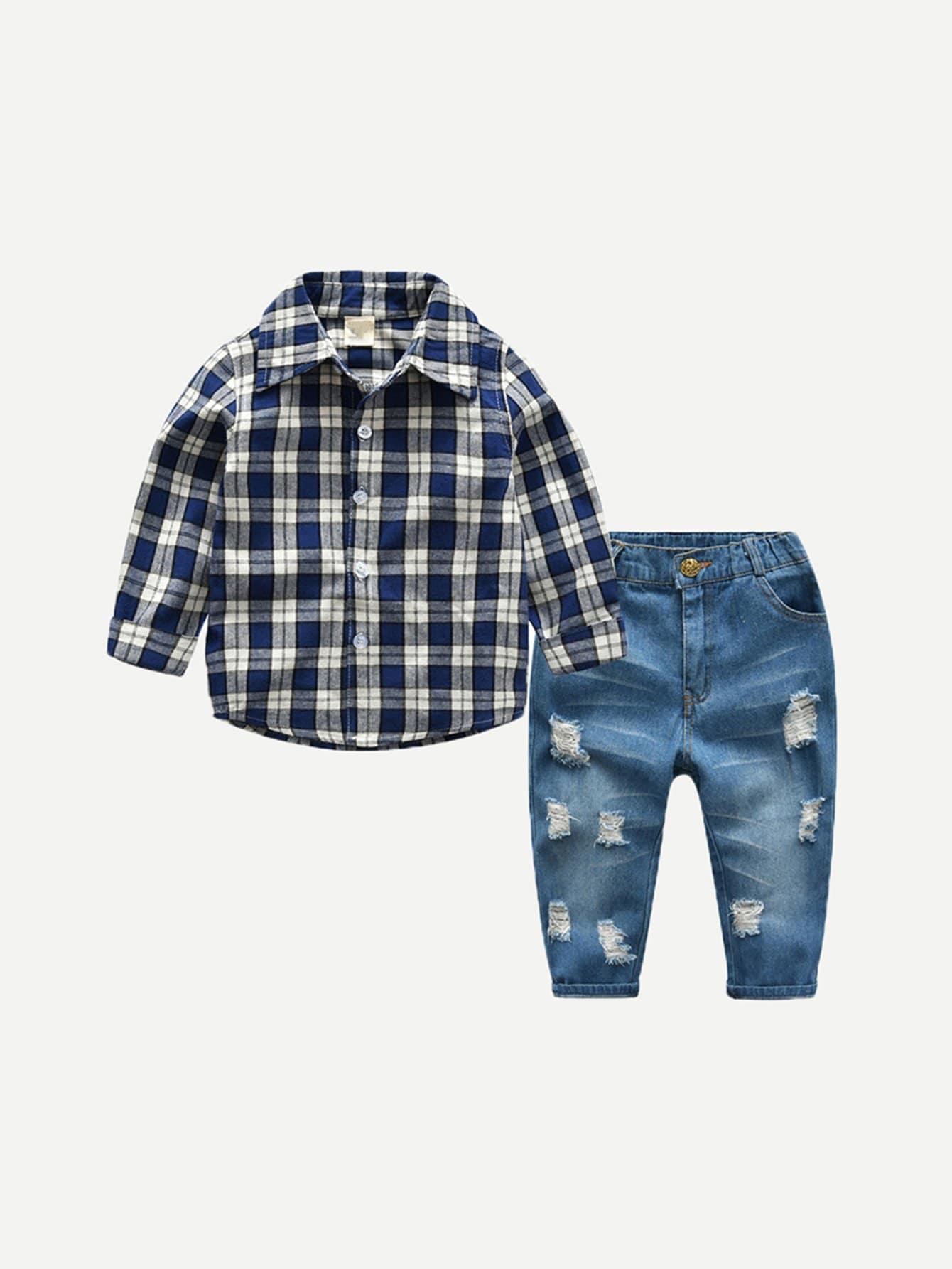 Купить Детская футболка с талией с джинсами, null, SheIn