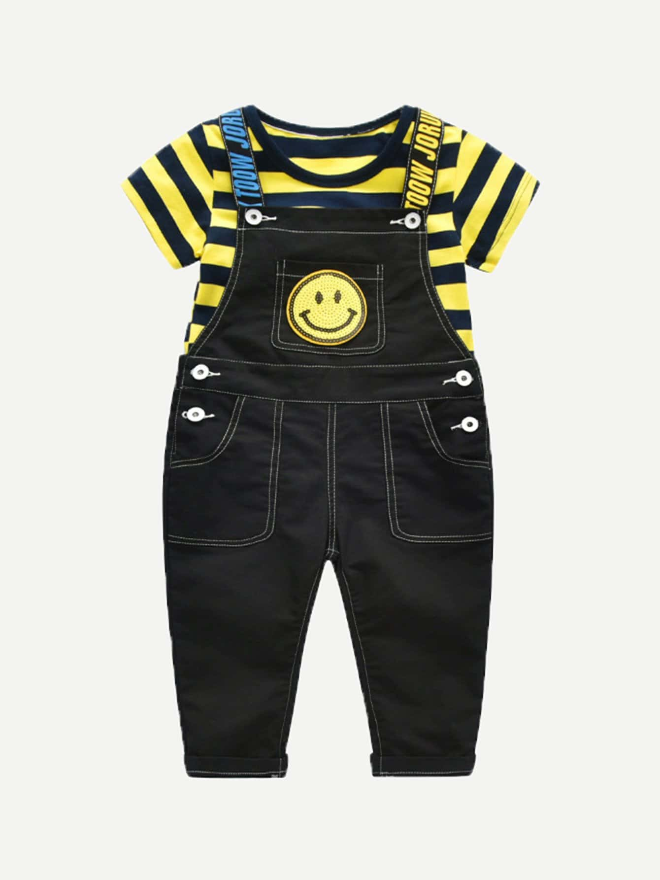 Kids Contrast Stripe Tee With Denim Overalls kids contrast lace patchwork denim short