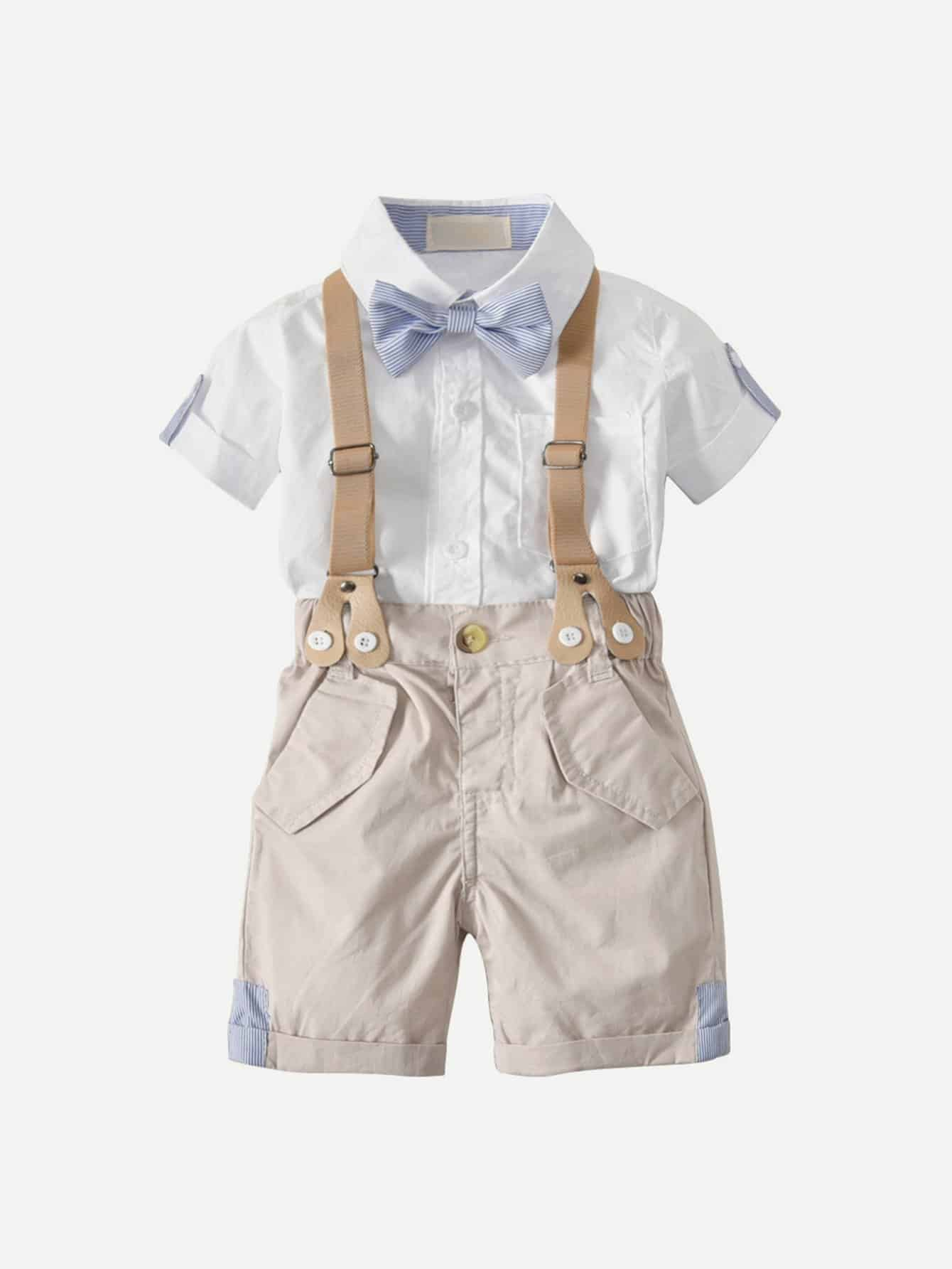 Kids Bow Tie Detail Shirt With Shorts bow tie cuff contrast patch pocket detail shirt