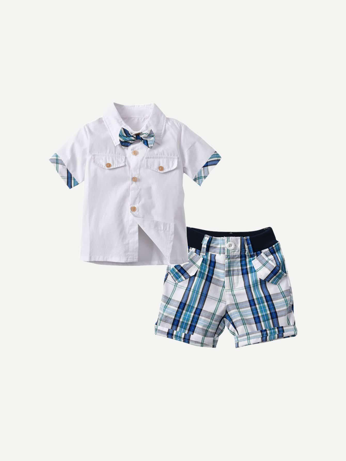 Мальчики С Бантом Рубашка С Клетчатой Шорты