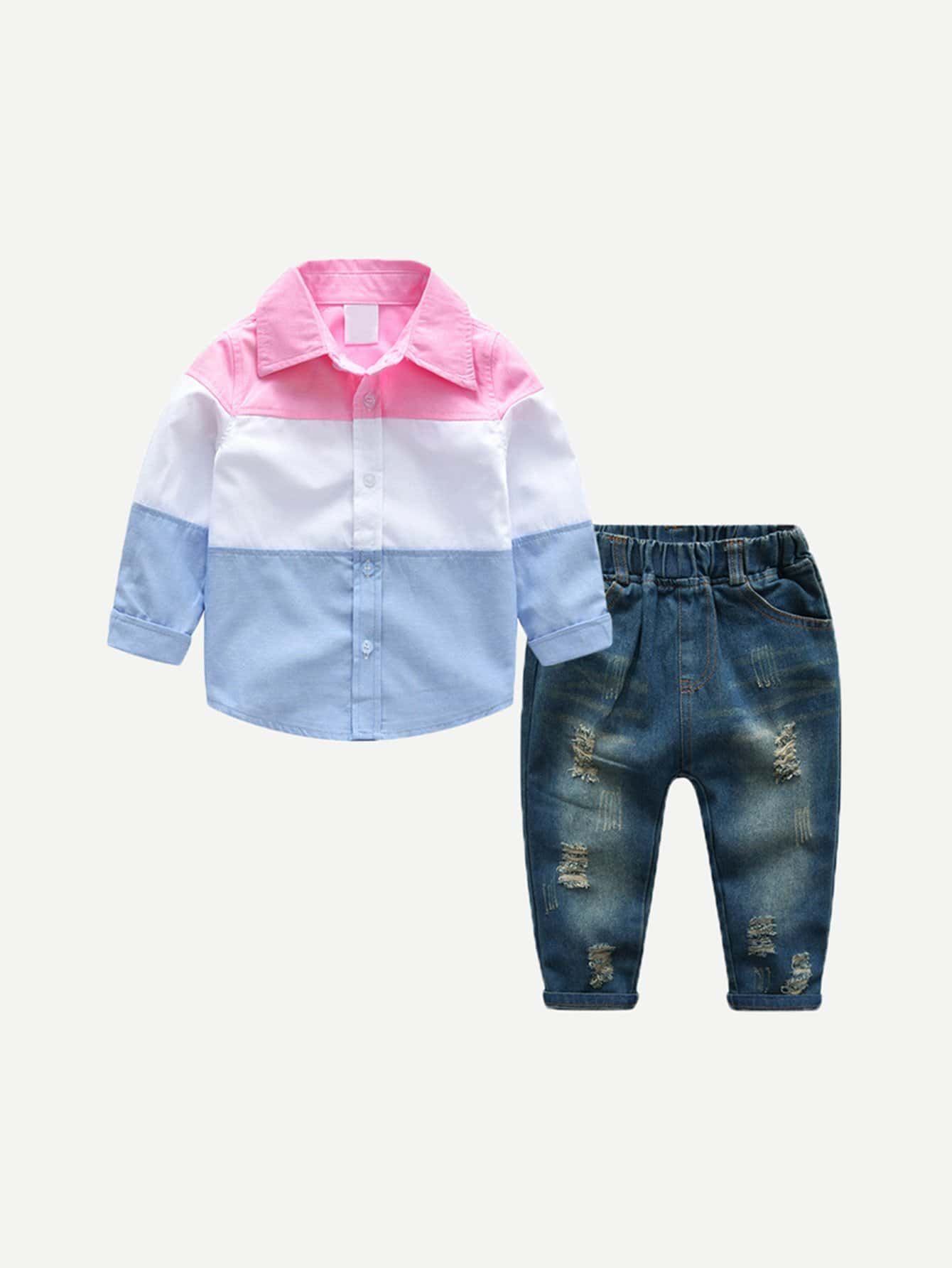 Kids Cut And Sew Panel Shirt With Jeans happy homemade  sew chic kids  20