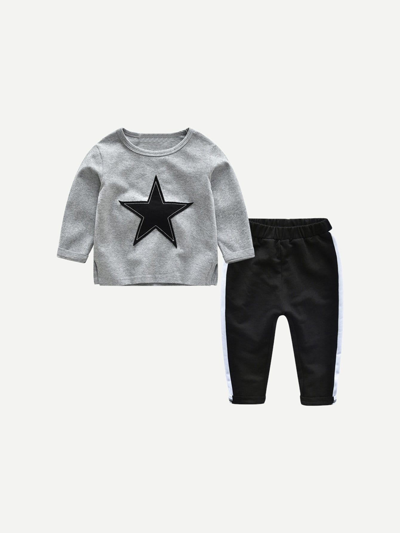 Аппликация Многоцветный Одежда для мальчиков из двух частей от SheIn