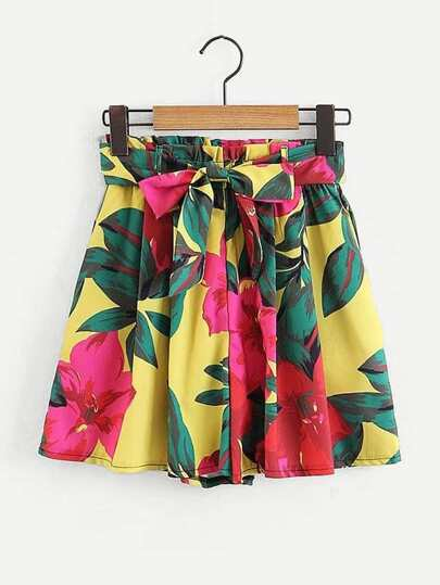 Self Tie Florals Wide Shorts