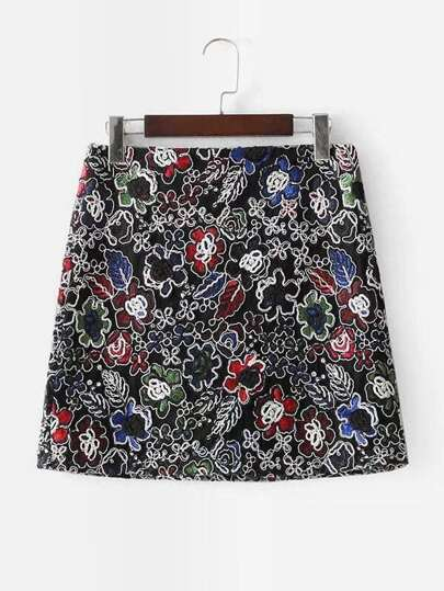 Embroidered Zip Up Skirt