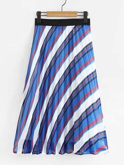 Multi-Stripe Pleated Skirt