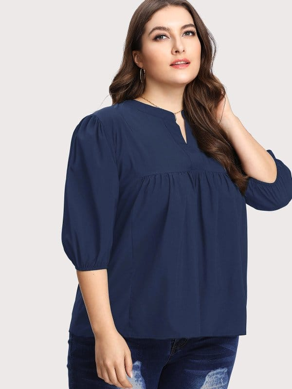 Plus V Neck Ruffle Hem Blouse