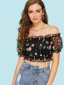 Off The Shoulder Contrast Mesh Floral Embroidery Top