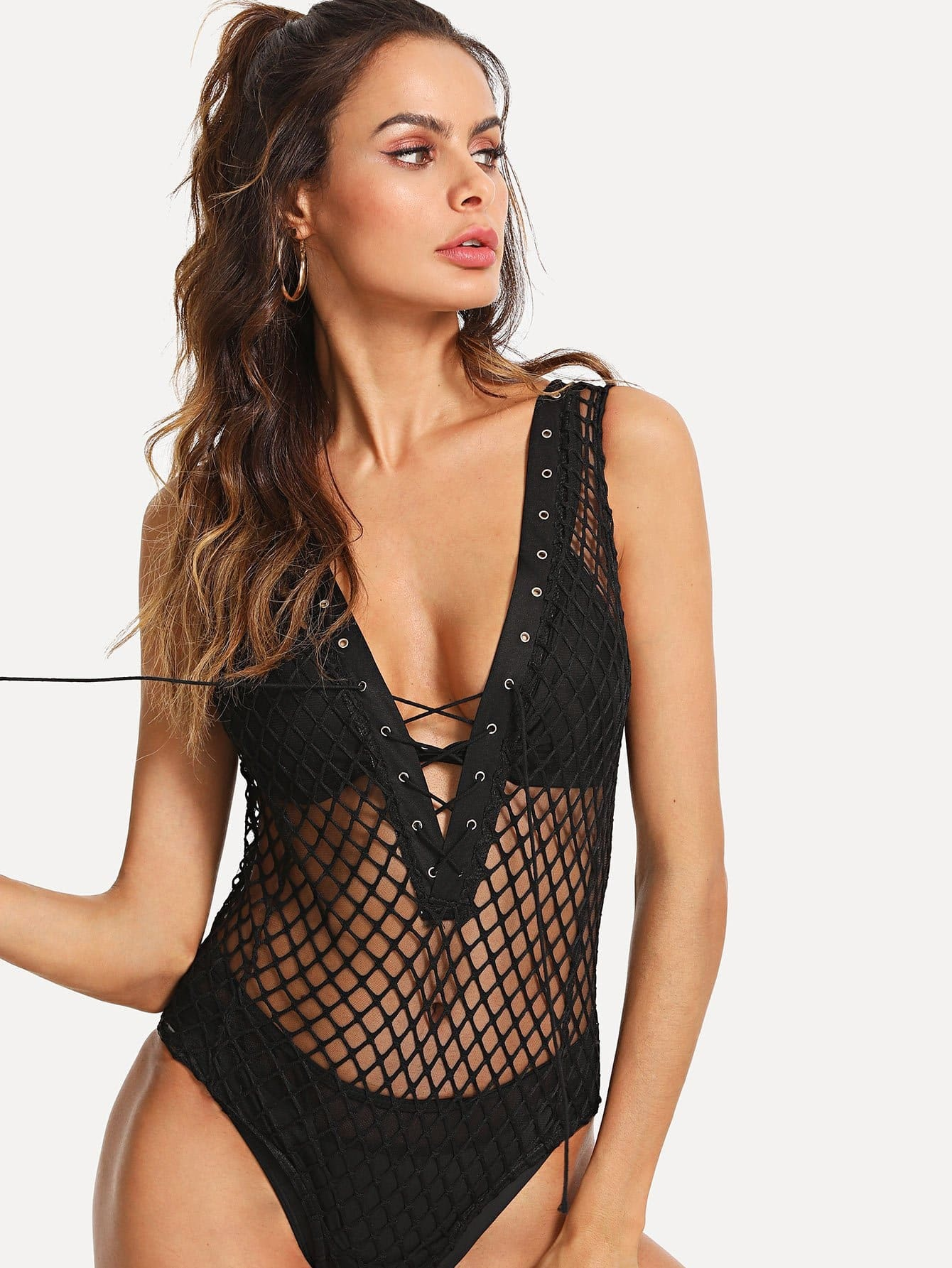 Contrast Mesh Lace Up Sheer Bodysuit contrast lace bodysuit