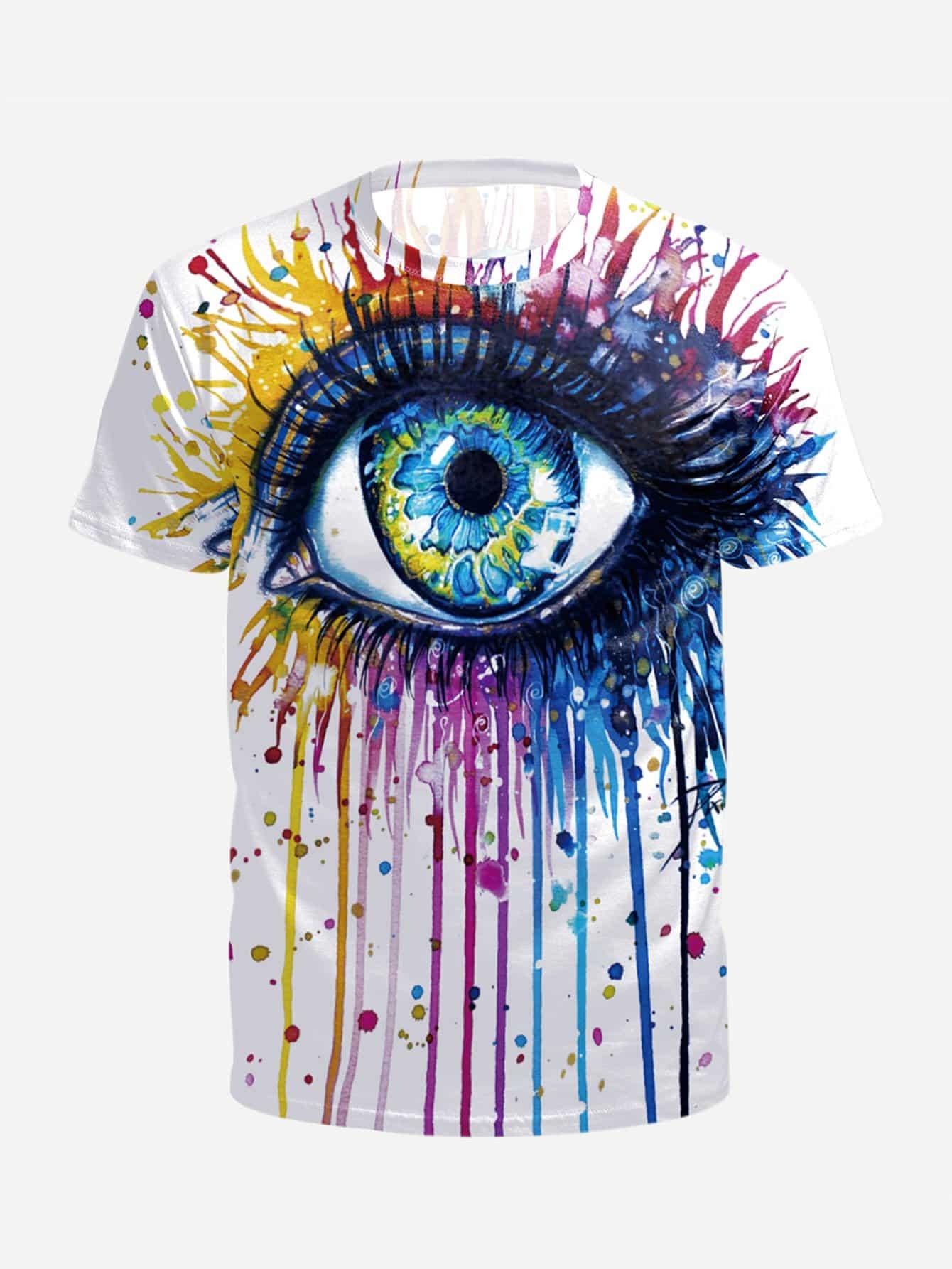 все цены на Men Paint Drip And Eye Print Tee