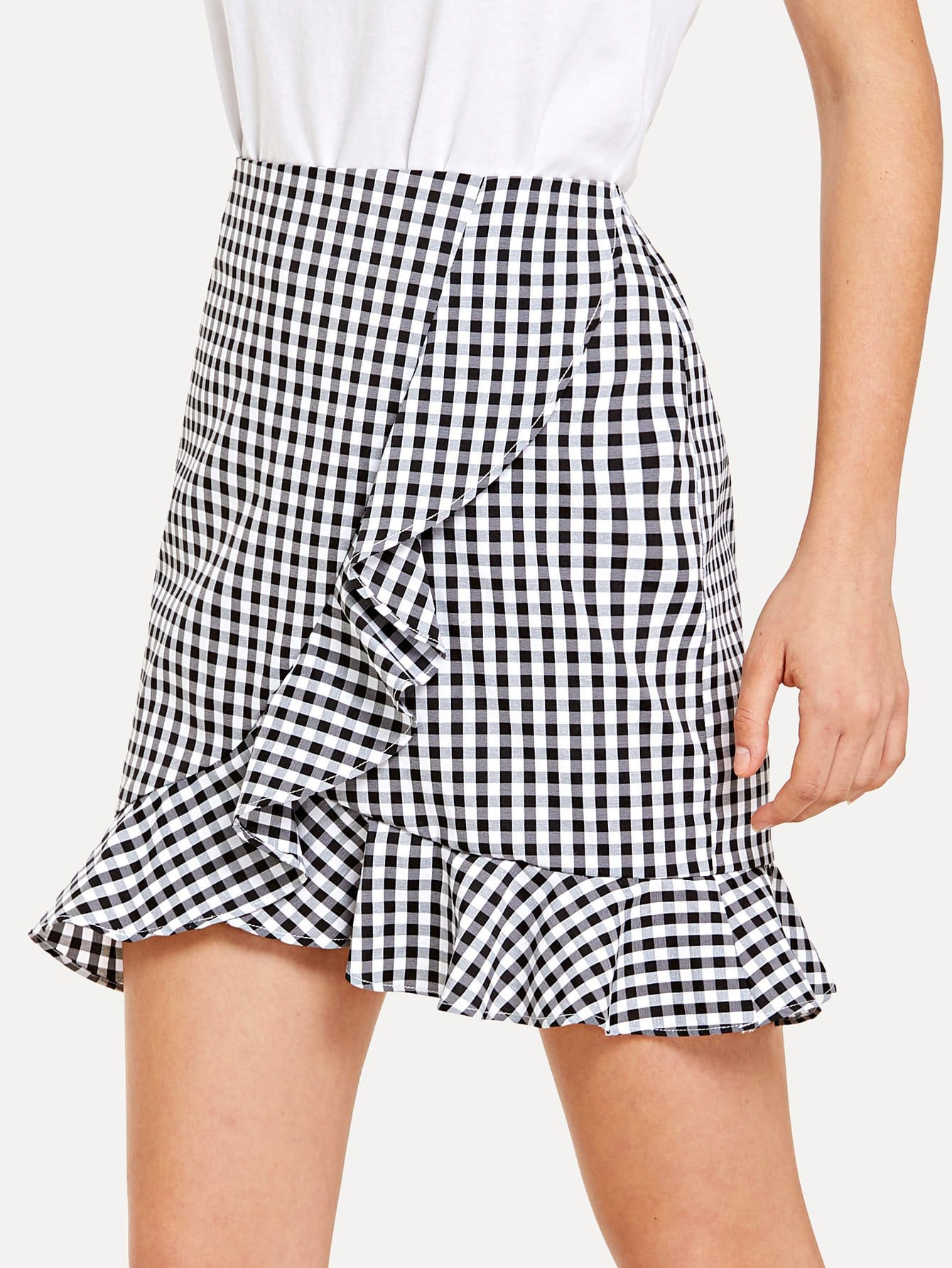 Frill Trim Zip Up Back Gingham Skirt