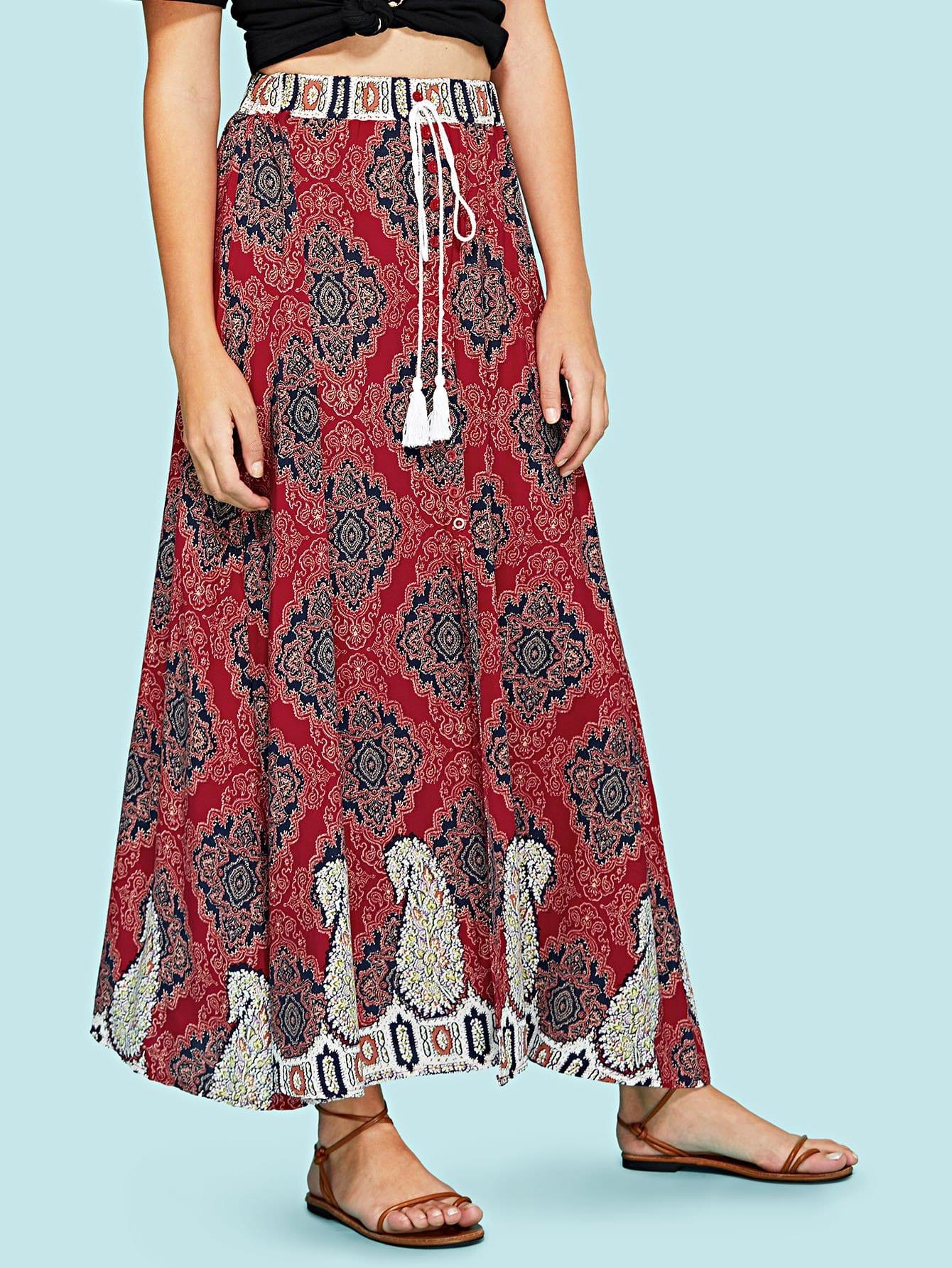 Ornate Print Drawstring Skirt ornate print textured skirt