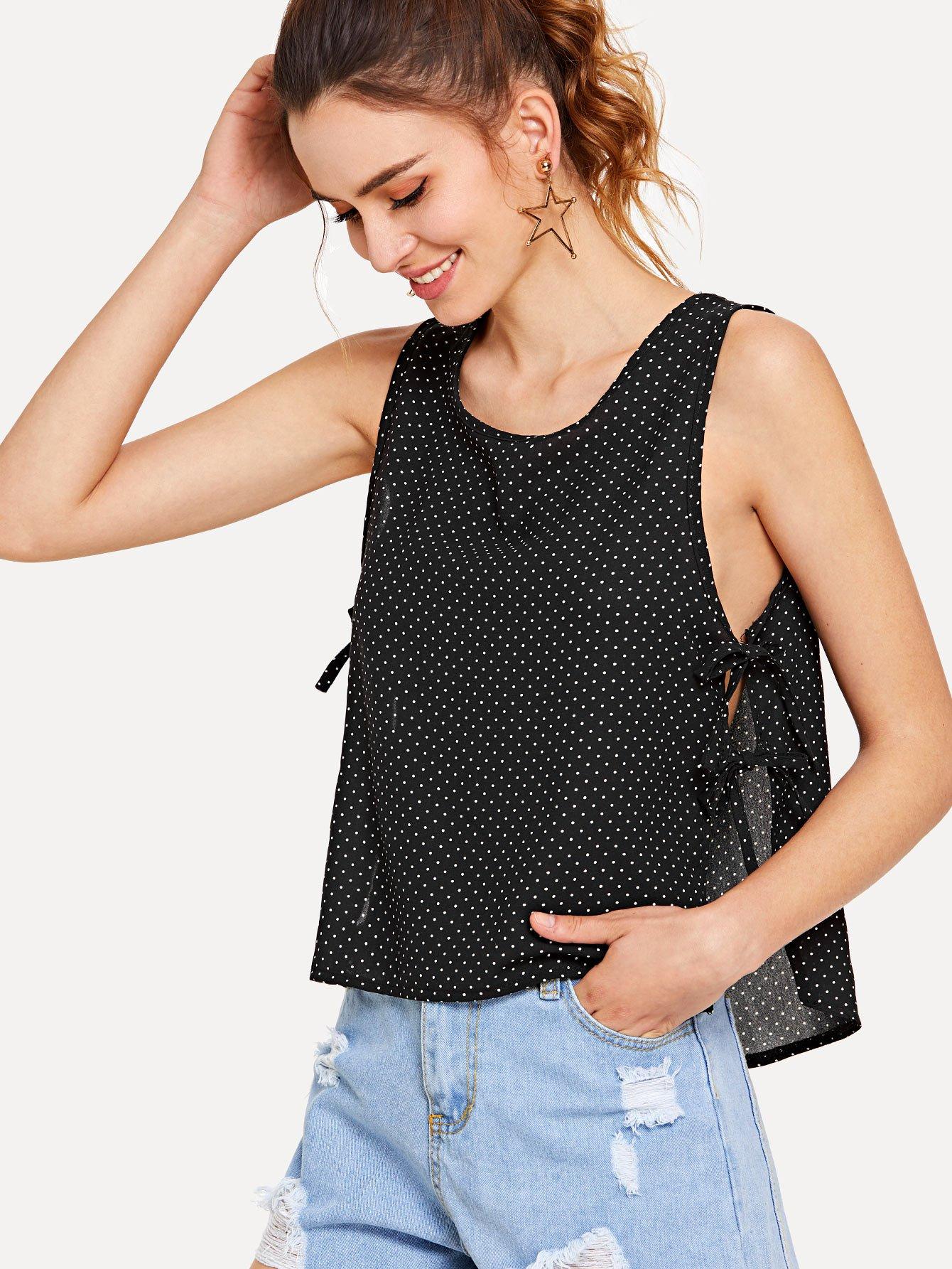 Polka Dot Side Lace Up Buttoned Keyhole Vest white spaghetti lace up design vest