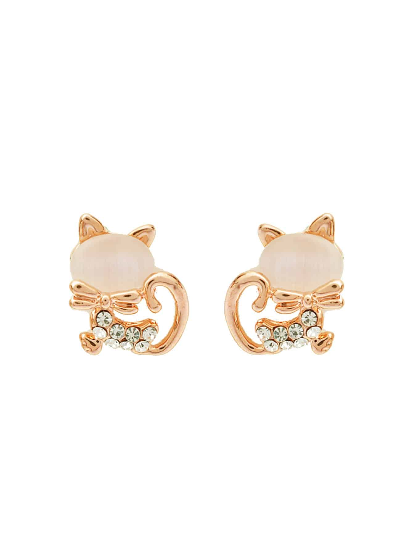 Cat Design Rhinestone Stud Earrings fox head rhinestone stud earrings