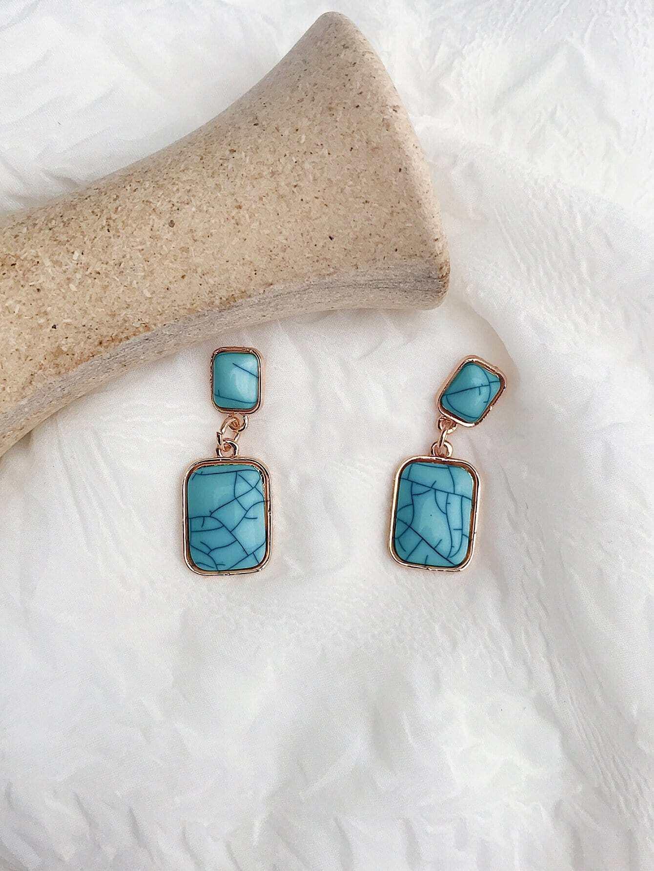 Marble Pattern Dangle Earrings