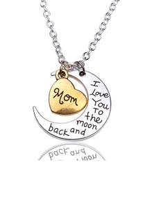 Moon And Heart Detail Pendant Necklace