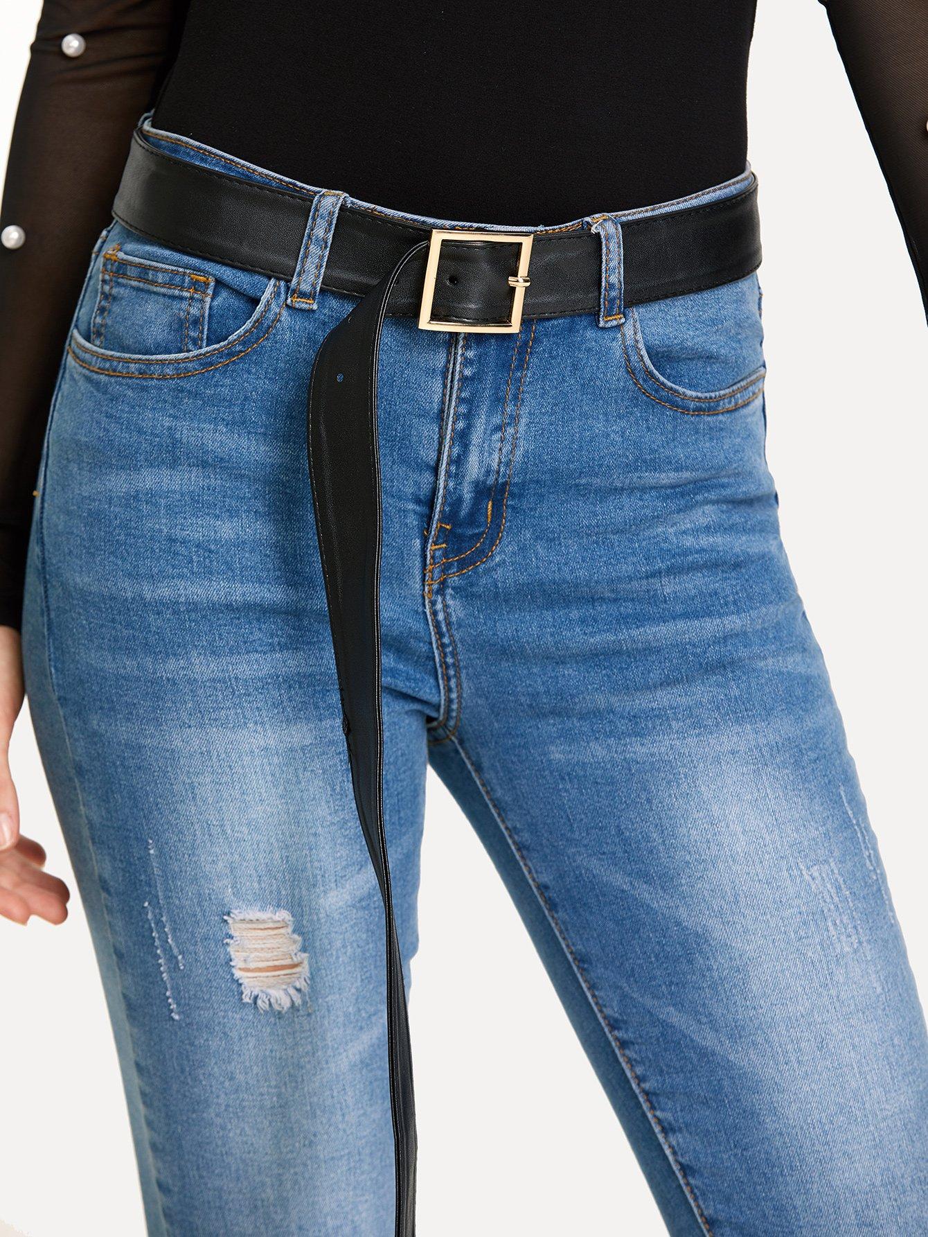 Square Buckle Belt women fashion square buckle basic dress leatherette wide belt