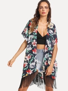 Flower Print Fringe Hem Kimono